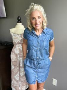 Lightweight Denim Shirtdress – Riley and Harper Denim Shirt Dress, All The Way, Boutique, Summer Dresses, Shirtdress, Shirts, Detail, Button, Products