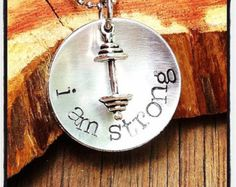 I Am Strong Necklace - Power - Strong - Strength - Hand Stamped - Barbell - Weights -Workout Necklace