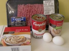 """Slow Cooker Meatloaf: 2 pounds ground beef or turkey 1 large egg 1 packet onion soup mix 1 can condensed cream of mushroom soup 1 can condensed tomato soup *1/4 cup ground flax seed (optional) In a large bowl, mix beef, egg and onion soup mix. Roll into """"loaf form"""" and place in slow-cooker. Cover with condensed cream of mushroom soup. Pour one can condensed tomato soup over the top. Set slow-cooker on low and cook for eight hours or high for four."""