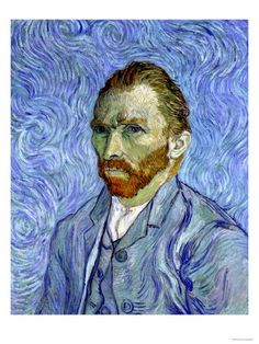 Self-Portrait, c. 1890 by Vincent van Gogh. Van Gogh painted many self-portraits in his short artistic career, and this is one of the last. In most of his self-portraits, he doesn't appear to be looking at the viewer, but rather has his gaze fixed on something in the distance; this painting is no exception. Giclee print from Art.com.