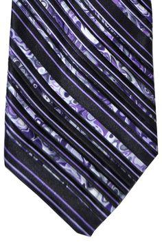 Vitaliano Pancaldi PLEATED SILK Tie Black Purple Stripes