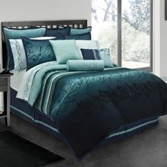 Clearance - Lawrence Blue Moon Queen Comforter Set by Lawrence Bedding Collections Bedding : The Home Decorating Company This is it! Teal Comforter, Queen Size Comforter Sets, King Size Comforters, Queen Comforter Sets, Blue Bedding, Brown Bedding, Bedroom Comforter Sets, Girl Bedding, Luxury Bedding Collections
