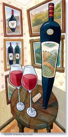 Cabernet Sauvignon & Two Glasses on a Table. Painting by Charles Kaufman - Archives: Wine and Landscapes #wine #art