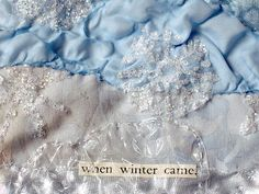 CAROLYN SAXBY TEXTILES - when winter came - a new ice blue winter heart with softly dyed fabrics, heat distressed chiffons, clear plastic and sparkly snowflakes. Text - when winter came Cotton Linen, Cotton Fabric, Carolyn Saxby, Beast From The East, Pretty Beach, Holly Leaf, Art Archive, How To Make Tea, Textile Artists