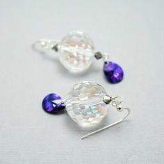New Year's Eve Glass Ball Earrings Crystal Pendant by CallunaMuse