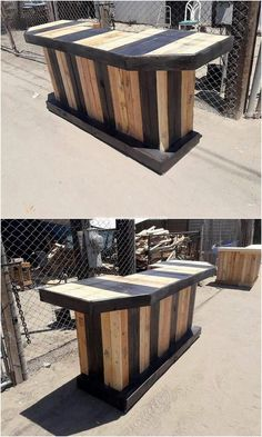 The style of bar counter furniture is coming out to be one of the top most wanted demand of so many house makers. This patio creation of bar counter is much considered to be the favorite part in order to make it use out as the bar friends gatherings. Wood Pallet Tables, Pallet Patio Furniture, Pallet Chair, Old Pallets, Pallets Garden, Wooden Pallets, Pallet Counter, Bar Counter, Pallet Projects