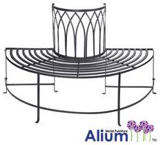Alium™ Trentino Steel Circular Garden Tree Seat in Black - Half Circle