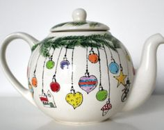 Christmas Tea Teapot - Bing Images See More. Christmas China, Christmas Dishes, Christmas Tea, Christmas Ornaments, Holiday, Pottery Teapots, Ceramic Teapots, Ceramic Pottery, Painted Pottery