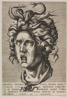 Head of Medusa, Italy, 17th century. Unknown print-maker, The Victoria and Albert Museum