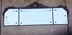 ORNATE WALL MANTLE  ETCHED CARVED MIRROR 3 PART