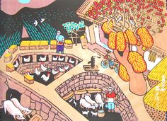 Farm Yard—Chinese folk art painting
