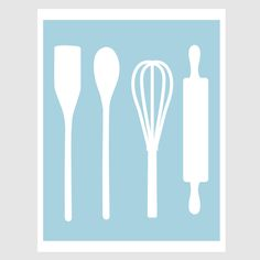 Kitchen Decor: Country Kitchen Baking Utensils Art Print