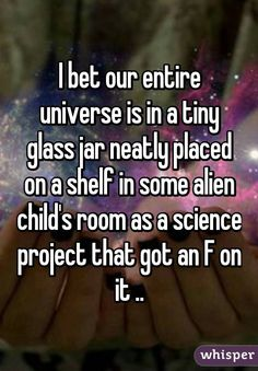 I bet our entire universe is in a tiny glass jar neatly placed on a shelf in some alien child's room as a science project that got an F on it ..