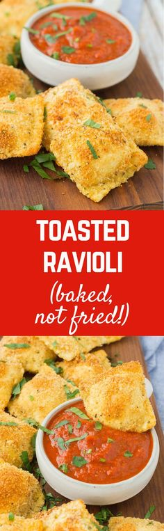 Baked not fried, these toasted cheese ravioli are the perfect game day snack or appetizer. You won't be able to stop snacking on them! Get the recipe on RachelCooks.com!
