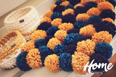 HOME by Wanderlust is for seekers of everyday magic. For the people who look for coziness, harmony and good looking homes  ♥ This is eye-catching pom pom rug, which is suitable for bedrooms, nursery room, even bathroom. Its soft and fluffy and its perfect for decoration and to make your home cozy. ♥ Every product is an authentic, handmade item and its made with a variety soft yarn and wool roving.  ♥ Size: this one is 50/34sm, but if you want I can make custom size espessialy for you  ♥ ...