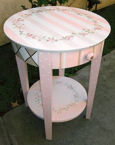 pink stripped night table, painted night table, girls night table by…