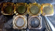$42.95 VTG Lot 6 Poker Table Ashtrays - amber brown clear square cupholder casino cards
