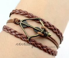Antique bronze Bow and arrow bracelet-Brown leather ropes handmade jewelry-Retro bangle-Boy friend gift by vividiy