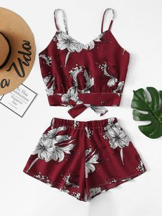 Floral Knot Back Cami Top With Shorts -SheIn(Sheinside) Cute Teen Outfits, Teenage Girl Outfits, Cute Comfy Outfits, Kids Outfits Girls, Girls Fashion Clothes, Teen Fashion Outfits, Cute Summer Outfits, Cute Fashion, Teenager Outfits