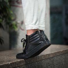 vans chaussures sk8 hi slim zip perf leather blackblack vans