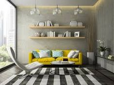 Interior of modern design room with yellow couch rendering , - Care Pet Toulouse, Yellow Couch, Shared Rooms, 3d Rendering, Modern Interior Design, Room Interior, Sweet Home, Shelves, Throw Pillows