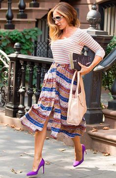 Love the feel of the look, midi skirt, play with patterns and could even wear heels