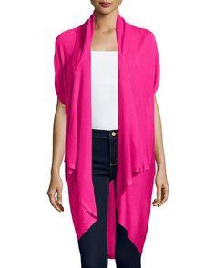 TBJTL Neiman Marcus Drape-Front Short-Sleeve Cardigan, Hot Pink