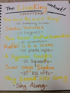 The Lion King movie workout! Soo my kind of workout! I wanna do this for all the Disney movies! Disney Movie Workouts, Tv Show Workouts, Disney Workout, Fun Workouts, At Home Workouts, Dance Workouts, Workout Guide, Workout Challenge, Workout Ideas