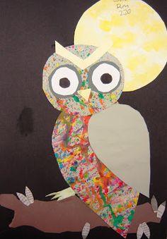 owls using splatter paint and sponge paint techniques