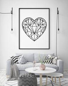 Black & White Geometric Love Heart Print Minimalist Poster   Etsy Minimalist Poster, Modern Prints, Heart Print, Love Heart, Posters, Black And White, Etsy, Color, Design