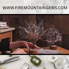 How to Make a Gemstone Chip Tree - Make your own gemstone trees. Shop Fire Mountain Gems and Beads' wire tree bases to easily DIY yo - Wire Wrapped Jewelry, Wire Jewelry, Wire Bracelets, Wire Rings, Beaded Jewelry, Handmade Jewelry, Bonsai, Carillons Diy, Art Fil