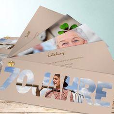 Einladungskarten 70. Geburtstag - selbst gestalten Polaroid Film, Place Card Holders, Party, Birthday, Projects, Diy, Crafts, Spas, Silver Anniversary