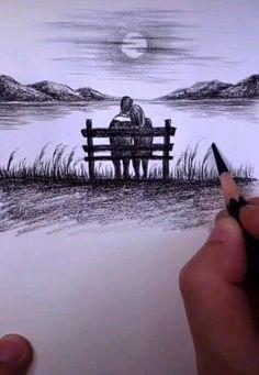 Unique Drawings, Art Drawings Beautiful, Art Drawings Sketches Simple, Pencil Art Drawings, Realistic Drawings, Easy Drawings, Scenery Drawing Pencil, Imagination Drawing, Romantic Drawing