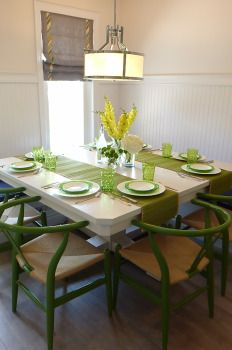 Dining Room green wishbone chairs Green Dining Room, Wishbone Chair, Claire, Table Settings, Dining Table, Lifestyle, Furniture, Design, Home Decor