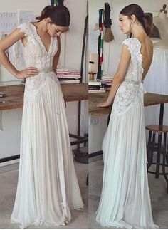 Vintage lace beading bridal gowns 2017 simple A line V neck v backless sweep train wedding gowns - Wedding Dress - Brautkleid Second Hand Wedding Dresses, Lace Beach Wedding Dress, Wedding Dress Train, Dress Beach, Wedding Beach, Mermaid Wedding, Maternity Wedding, Beach Weddings, Beach Dresses