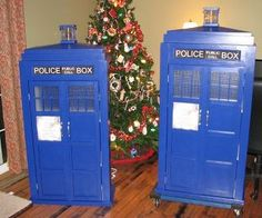 Tardis Bookcases.  The doors open up and the lantern can be turned on to act as a nightlight.