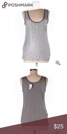 """🆕 Banana Republic Gray Embellished Tank Top M ☀️ Brand new with tags! Thank you for looking!  34"""" chest 22"""" length 94% rayon 6% spandex Banana Republic Tops Tank Tops"""