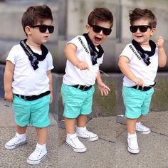 Cute boy's summer outfit. Summer fashion.