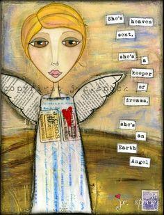 Mixed Media Art: Earth Angel 8x10 print - Whimsical Art, Inspirational Art, Wall Art, Angel Art, yellow, peach, pink