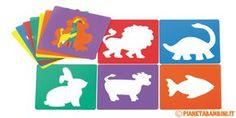 Tantissimi stencil per bambini pronti da stampare gratis in PDF e ritagliare: farfalle, fiori, animali, gatti, cuori, stelle, natalizi, cani, pesci, uccelli e coniglietti