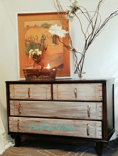 Stained distressed dresser @tealhousecreative