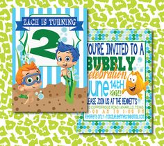 DIY Boy Bubble Guppies Birthday Party Invitation by kyankedesigns, $20.00