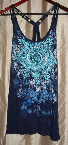 Charlotte Russe Dark Blue Racer Back Tank Top / Shirt with Mandala Size S #CharlotteRusse #TankCami #Casual
