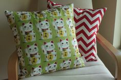 "Lucky Cat Maneki Cushion/Pillow Cover 18"" (46 cm) on Etsy, $30.00 AUD"