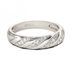 Jeulia Diagonal Round Cut Created White Sapphire Women's Wedding Band