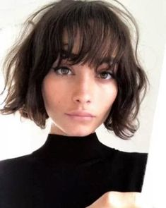 Bob hairstyles are just as on trend as ever, so if you're yet to try one, why not make 2018 your year? From trendy French girl-inspired styles to layered, graduated bobs, see the array of different bob haircut options available here. Ready to join the sho Thin Hair Short Haircuts, Short Hair Cuts, Haircut Short, Curly Haircuts, Short Bob Bangs, Short Bob With Fringe, Blunt Bob With Bangs, Bob Haircut Bangs, Layered Bob With Bangs