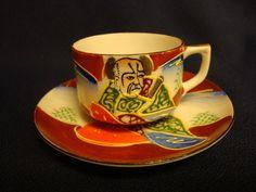 Vintage Petite Demitasse Cup and Saucer Set Espresso 2 oz Hand Painted Japan