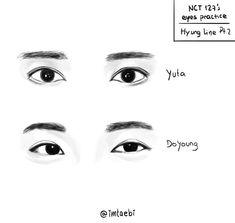 #nct #draw #fanart #yuta #doyoung Sketching Tips, Drawing Tips, Drawing Reference, Nct 127, Eye Sketch, Nct Yuta, Nct Doyoung, Kpop Drawings, Korean Art