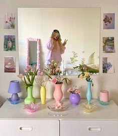 Pastel Room Decor, Pastel Bedroom, Cute Room Decor, Wall Decor, Room Ideas Bedroom, Bedroom Decor, Bedroom Inspo, Indie Room, Vintage Decor