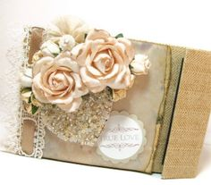 Shabby Chic Wedding Album, TP Mini Album Wedding Scrapbook, Wedding Brag Book. $22.50, via Etsy.
